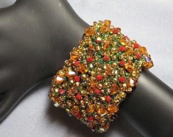 Holiday Ready Handmade Beaded Cuff Bracelet