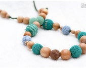 Nursing Juniper Necklace/Eco-Friendly Teething Toy - green, lemon green, light blue, mocha.