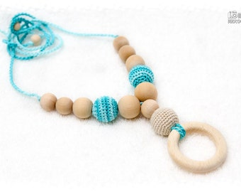 Nursing necklace, Organic Teething necklace with wooden ring pendant -cream and turquoise, natural wooden beads