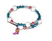 Pink Boot Charm Memory Wire Bracelet