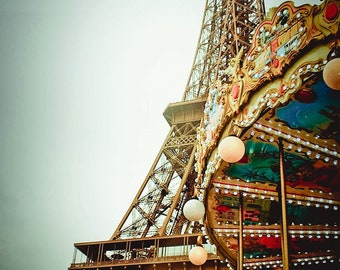 Carousel at the Eiffel Tower, Fine Art Photo,Paris,France,multiple sizes available-parisian,colorful,Eiffel Tower, carousel, architecture
