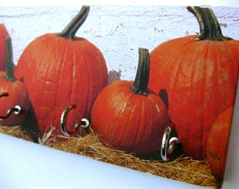 "Pumpkin Key Rack and Jewelry Holder Orange Pumpkins Fall Thanksgiving Autumn Festival Harvest Decor Holiday Decor Orange and Black ""Pumpkin"""