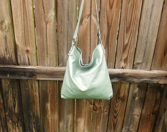Pearl Green Leather Hobo Bag
