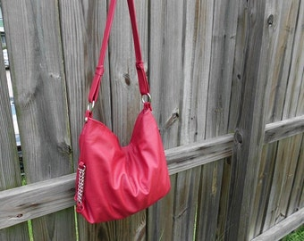 Vibrant Red Leather Hobo Bag