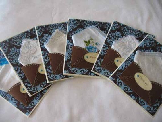Vintage Wedding Handkerchief Lot Favors Chocolate Brown Blue Bridal Shower Tea Appreciation Thank You Hanky Greeting Cards