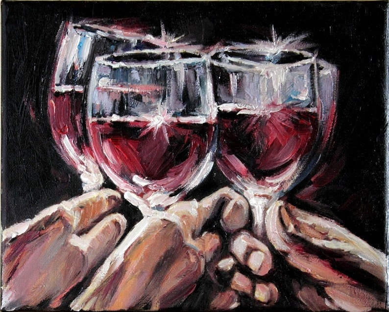 Red wine glasses still life art modern oil by anastassiaart for Painting and wine