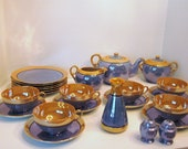 Blue and Gold Lusterware Tea & Lunch Service for Six