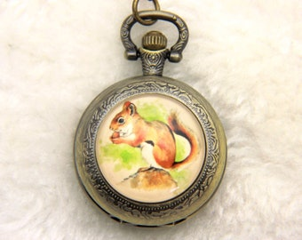 Necklace Pocket watch squirrel