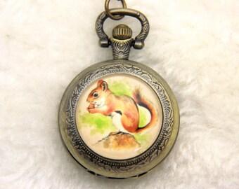 V1 Necklace Pocket watch squirrel 2525M