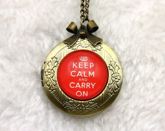 Necklace locket keep calm and carry on
