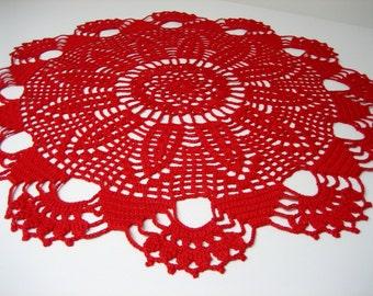 Red crochet doily. Round crochet doily. Doily gift. Crochet gift. Elegant crochet doily. Christmas gift. Christmas decoration