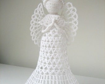 White tall crochet angel. Angel decoration. Christmas angel decor. Angel ornament. Christmas tree topper angel