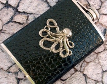 Octopus Flask Faux Crocodile 8 Ounce Nautical Pirate Style