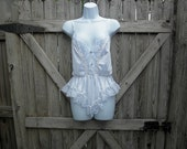 Vintage Lingerie Lace Nightgown Top with Cinched Waist- M