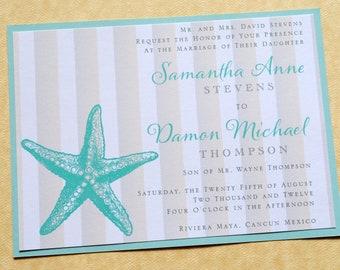 Beach Wedding Invitations, Destination Wedding Invitation, Teal Starfish Wedding Invitations, Tropical Wedding Invites, Wedding Invitation