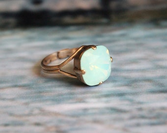Swarovski Crystal Chrysolite Opal Cushion Cut Ring in Antique Gold with Adjustable Band