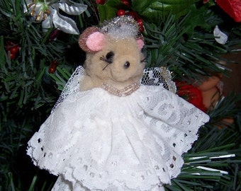 Vintage Christmas Ornament: Brown Angel Mouse - S1014
