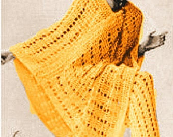 A BEST Vintage Mod Lace Poncho & Pants Set 715 PDF Digital Crochet Pattern