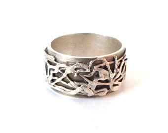 Fine Silver Band Ring, Wide Band Ring, Textured Ring, Silver Metal Clay Jewelry, Handmade Jewelry,  999 Silver Pattern Ring, One of a Kind