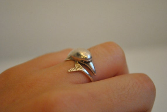 Vintage cute dolphin marked sterling silver ring size 7