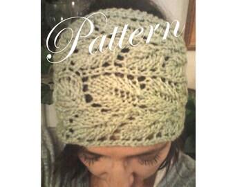 Knitted  Leaf Lace Headwrap Headband Earwarmer PDF Pattern