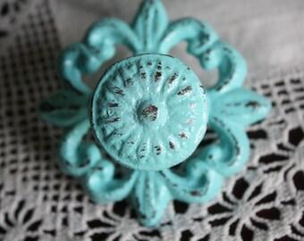 AQUAMARINE Metal Knob / Drawer Pull / Antique Look / Fleur De Lis