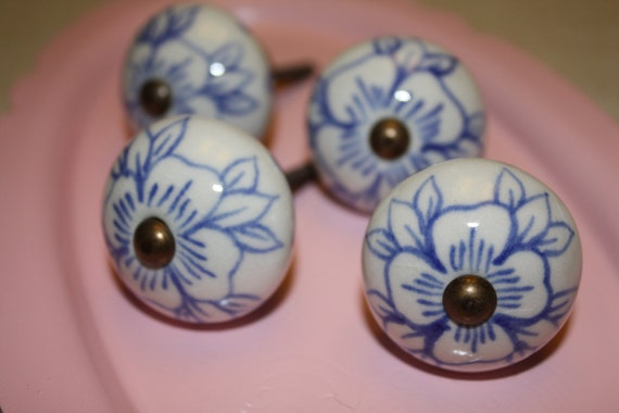 Hand Painted Ceramic Knobs Drawer Pulls Blue And White