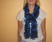 Knitted Sparkle Scarf Dark Blue and Light Blue for women girl gift Ready to Ship