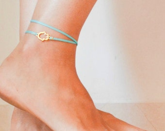 Hamsa anklet, ankle bracelet, turquoise wrap anklet, wrapped anklet, wrapped anklet bracelet, gold hamsa, gold hand, Hand of Fatima jewelry