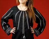 Vyshyvanka black. Ukrainian embroidered women's blouse. Ethnic sorochka, Ukrainian vyshyvanka  XS-5XL. Ukrainian folk national clothes.