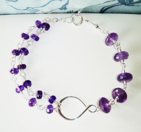 Asymmetric amethyst infinity bracelet, sterling silver jewellery OOAK