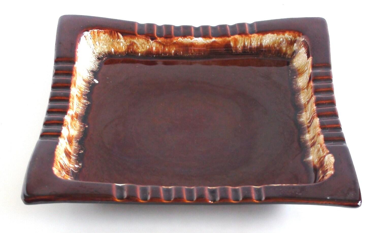 Vintage Pfaltzgraff Ceramic Ashtray Drip Brown