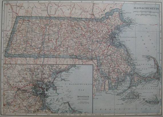 1917 Antique MASSACHUSETTS Map Vintage State Map BEAUTIFUL Color  Plaindealing 644