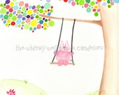 8x10 Original Piggy on a Swing in a Polkadot Tree Watercolor Painting - Piggy Swing