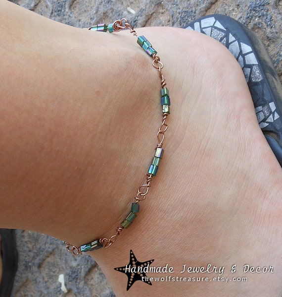 Wire Wrapped Anklet with Copper Wire and Beads