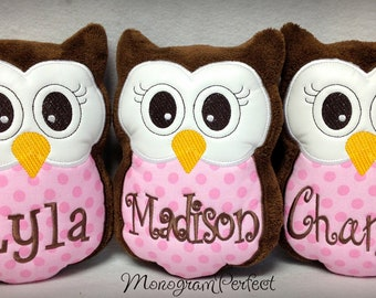 Personalized Monogrammed Stuffed Owl Plush Pillow Soft Toy