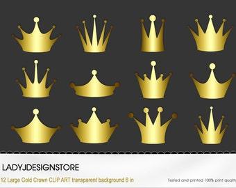 Crown Clip Art - 12 Digital Clipart Golden Crowns for invitations, scrapbooking- PNG, Original Clip Art