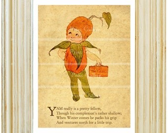 Vegetable Fruit Print Food Kitchen Old Antique Child Bedroom Nursery Wall Art Vintage Bookplate Book Picture Poem Decor Yam fv 361
