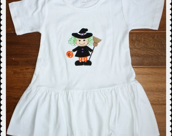Custom Halloween Witch Applique Dress - Can be done on a shirt too