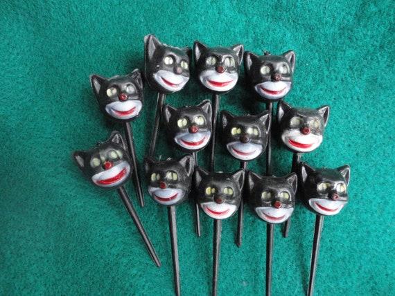Vintage Black Cat Halloween Cake Toppers/Picks Made in Hong Kong
