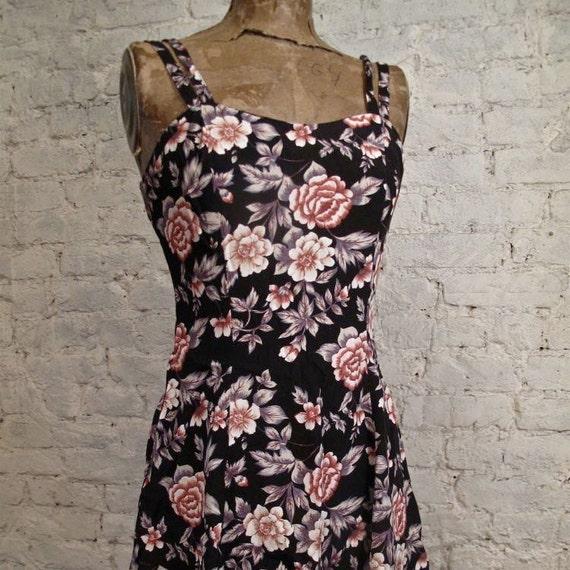 Grunge Dress - 80s/90s Black with Roses Floral Sundress