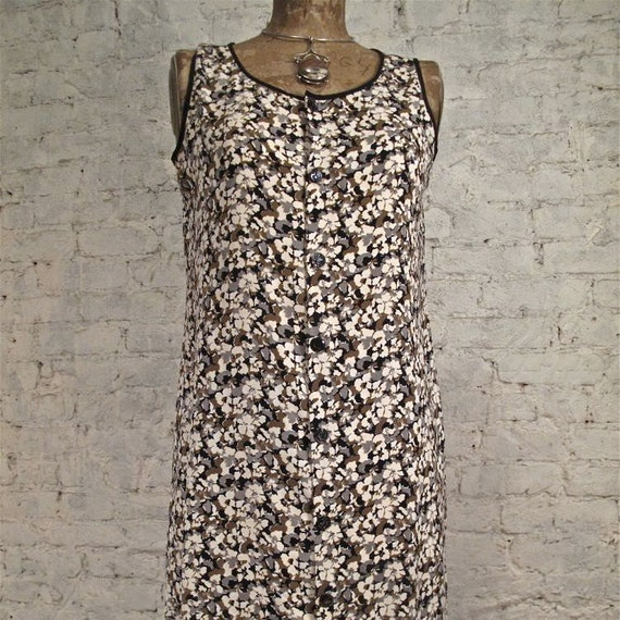 RESERVED - Grunge Dress - 80s/90s Black, Brown and Ivory Floral Sundress