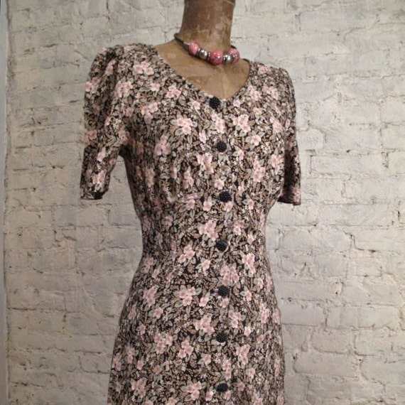 RESERVED - Grunge Dress - 80s/90s Button Down Black and Pink Floral Print