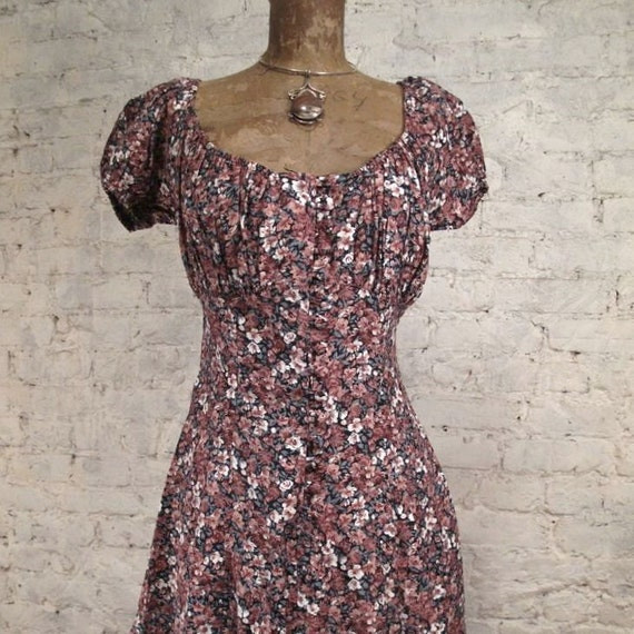 Grunge Dress - 80s/90s Pink and Green Floral by Contempo Casuals