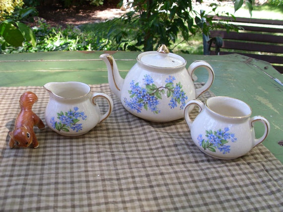 Antique Gibsons Staffordshire England-Tea Pot and Creamer With Sugar Bowl-Blue/Pink Flowers