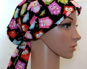 Women's Tie Back Pleated back Surgical Scrub Hat/ Chemo hat with band.  Sleepy Owls - 21035