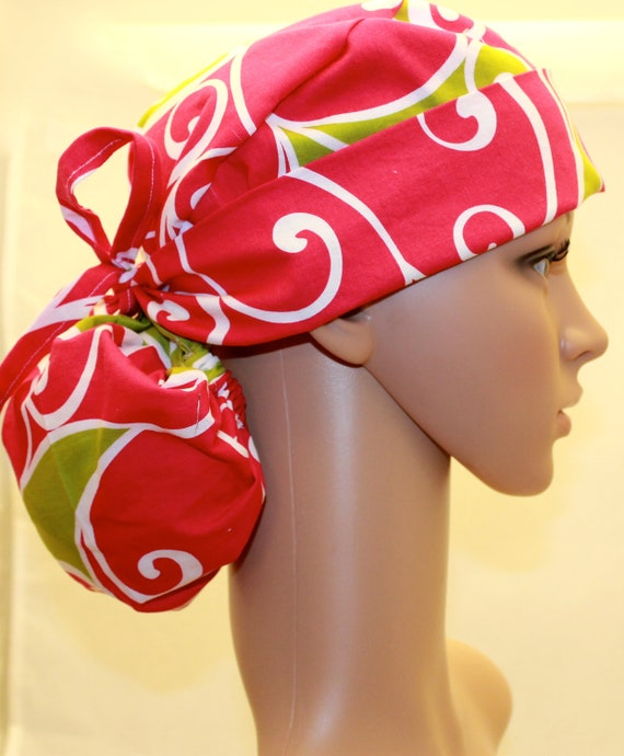 Women's Ponytail Scrub Hat- Michael Miller/ Amy Butler fabrics