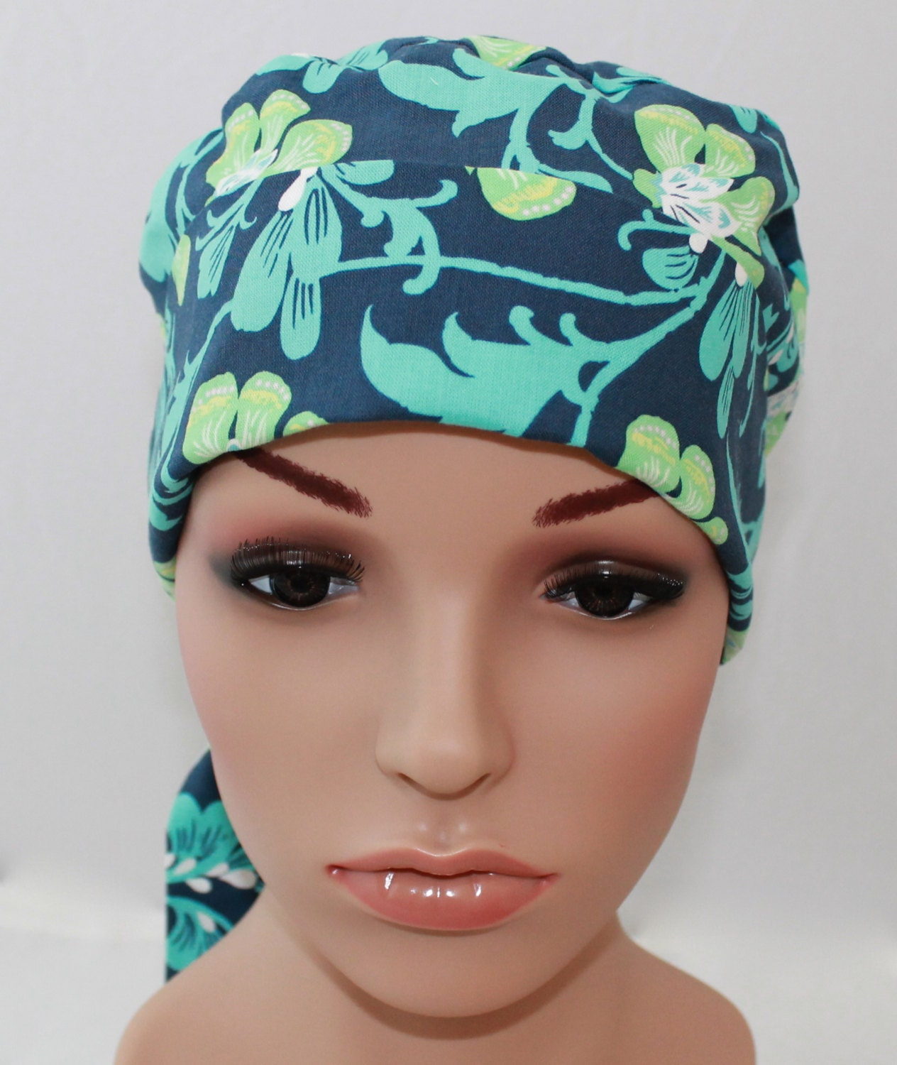 s tie back surgical scrub hat chemo hat by