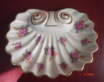 Porcelain Sea Shell  Dish, Hand Painted Cabbage Roses by Beth Wood
