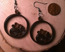 Chocolate Circles Quilled Earrings